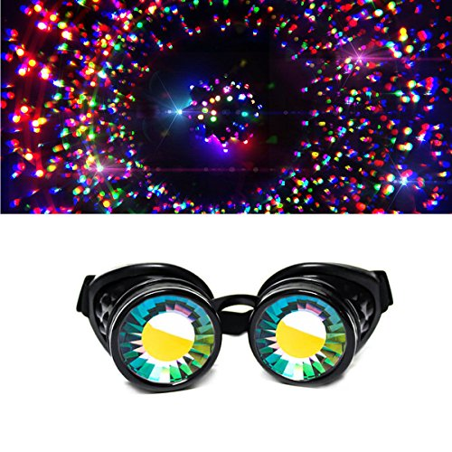 GloFX Black Padded Kaleidoscope Goggles - Wormhole Lens - Adjustable Strap - EDM Rave 3d Prism Rainbow Cyber Welding Steampunk Cyborg Portal Real Glass Crystals Diffraction - Spike Sunglasses