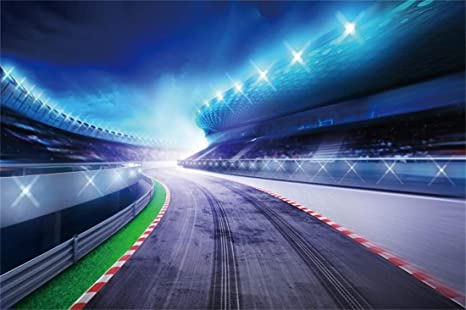 Yeele 10x6 5ft Photography Background Motorsport Race Track Photo Drive Speed Competition Game Racecourse Stadium Night View Bended Road With Stands