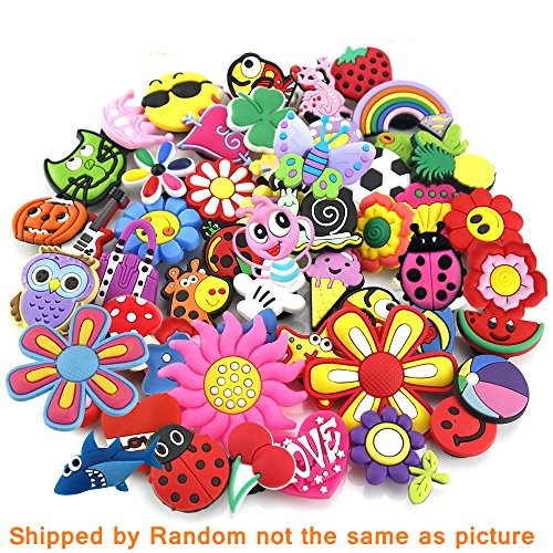 50 Pcs PVC Different Shoe Charms for Croc & Bracelet Wristband Kids Party Birthday Gifts