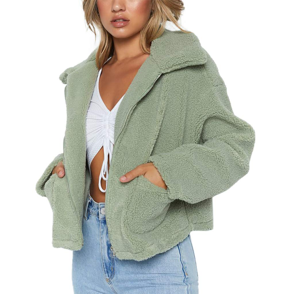 Redacel Womens Winter Faux Shearling Warm Winter Outwear Oversized Zip Coat Jacket with Pockets (XXXL,Green) by Redacel