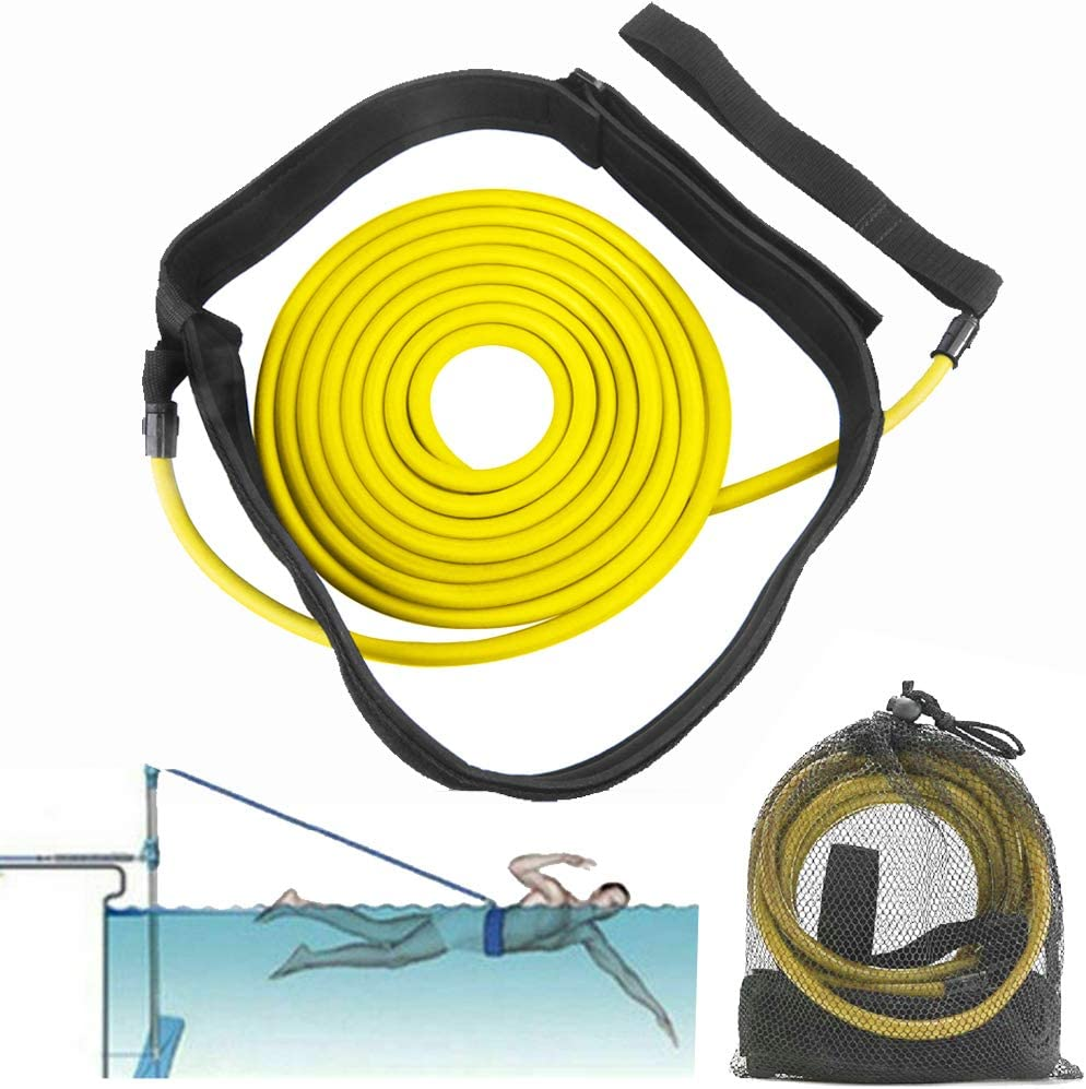 FOOING 3M Swim Training Belts, Swim Training Leash, Swim Tether Stationary Swimming, Swim Harness Static Swimming Belt, Swim Bungee Cords Resistance Bands (Yellow, 3) : Sports & Outdoors