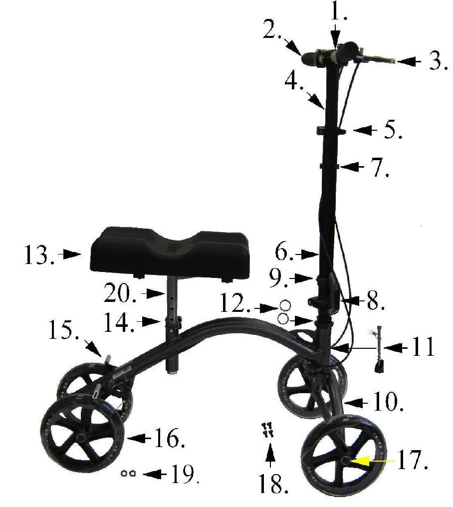 Replacement Parts for Drive 790 Knee Walkers - All Parts Sold Separately - (3c.Brake Cable Only)