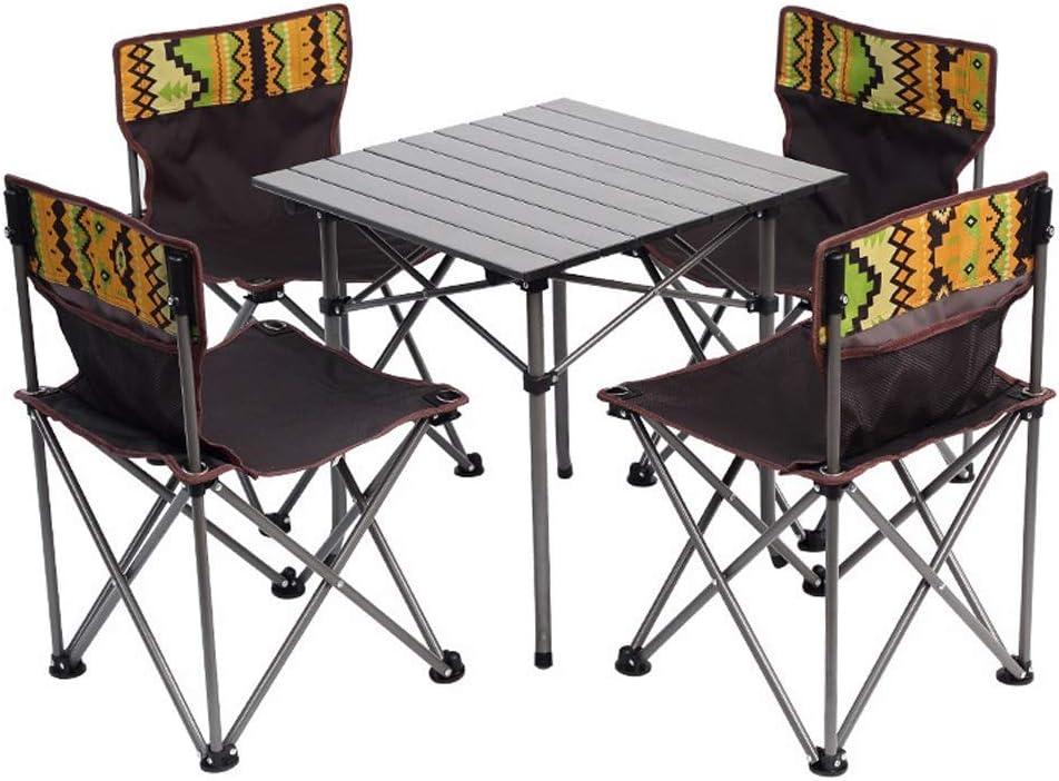 GLF Mesa de Camping Mesa de Picnic portátil y sillas con 4 sillas Plegables de Ocio, sillas de Barbacoa para jardín al Aire Libre Taburetes: Amazon.es: Hogar