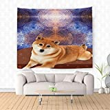 Nalahome raditional Shiba Inu Dog Cute Young Funny Pet Ethnic Tribal Bohemian Hippie Indian Yoga Mandala Lover Dre Ethnic Decorative Tapestry Blanket Wall Art Design Handicrafts 59W x 39.3L Inches