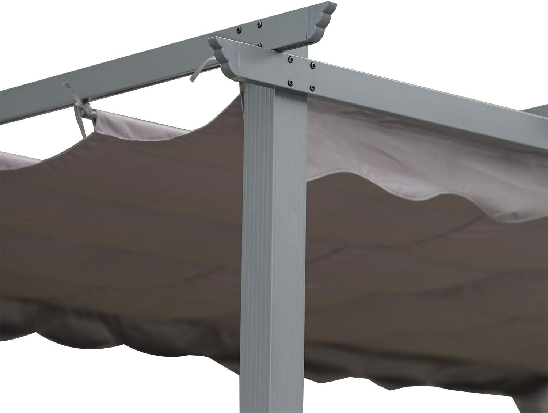 Angel Living Pergola in Alluminio con Tetto a Scomparsa Uso Esterno Padiglione dal Design Elegante Gazebo con Tessuto in Poliestere Impermeabile e Resistente ai Raggi UV Aggiornato 3 x 3, Beige