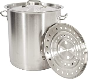 Gas One Stainless Steel Stock Pot with Steamer 8 Gallon with lid/cover and Steamer Rack, Tamale, Dumpling, Crab Pot/Steamer Thickness 1 mm, For Homebrewing and Boiling Sap for Maple Syrup (Renewed)
