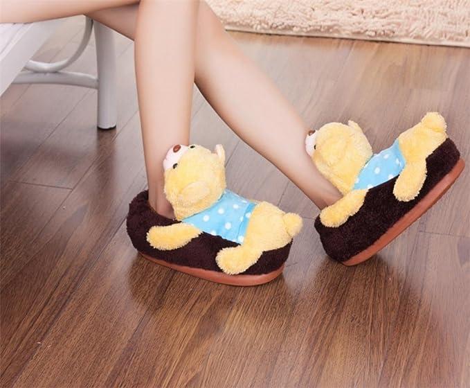 MHGAO da donna casual pantofole Papa Bear Cartoon Fashion interni cotone sandali, 4, M