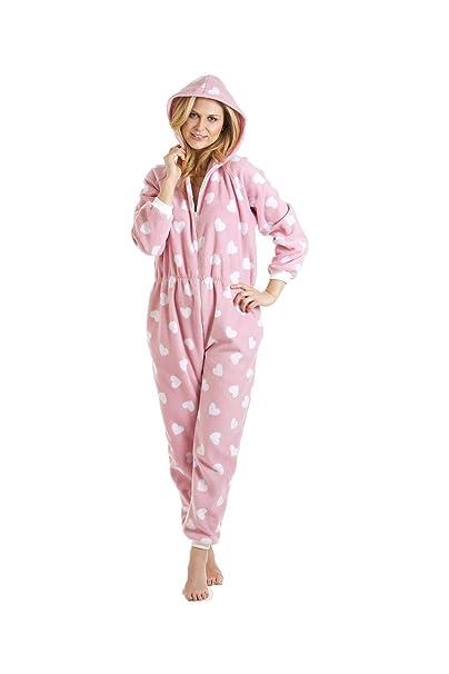 Camille - ropa de dormir Pijama para Mujer de color CORAZÓN DE COLOR ROSA/BLANCO