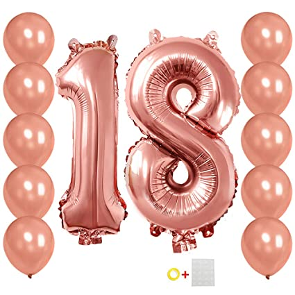 Amazon Number 18 Balloons 40 Inches Rose Gold 18th Birthday