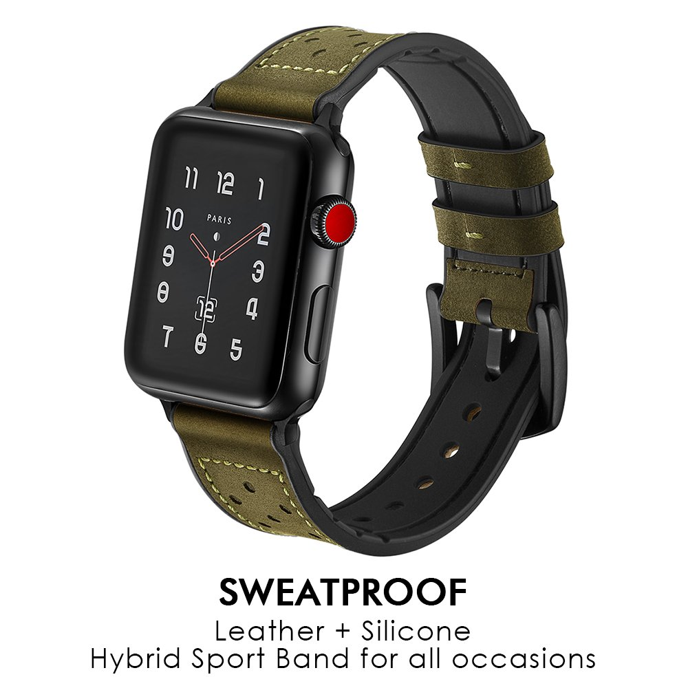 RUCHBA Luxurious Hybrid Genuine Leather Band for Apple Watch 42mm Sweatproof Bands Silicone Lining Replacement Straps for iwatch Space Black Series 1 2 3 Sport and Edition Men Women - Green