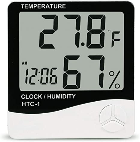 Digital Thermo-hygrometer Humidity Gauge Indicator Digital Thermometer Digital Hygrometer Room Wireless Temperature and Humidity Monitor Large Screen ℃//℉ Switch Indoor Thermometer CH-908 black