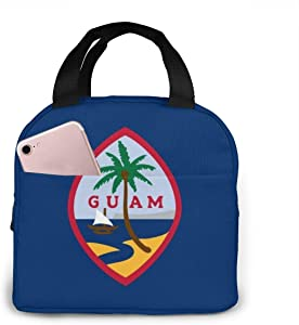 Flag Of Guam Lunch Bag for Boys Girls Men Women Reusable Insulated Lunch Box Tote Bag Food Container for Work Travel Picnic