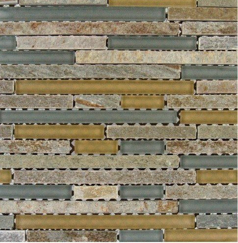 MS International 12 in. x 12 in. Golden Fields Interlocking Glass & Stone Mesh-Mounted Mosaic Tile - Box of 5 sqf