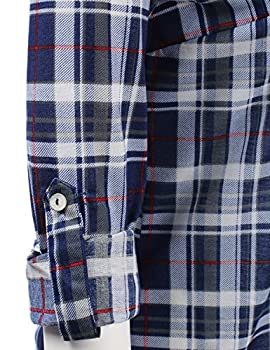 Jj Perfection Womens Plaid Collared Full Button Down Rollable 34 Sleeve Shirt Navygrey 3xl 3
