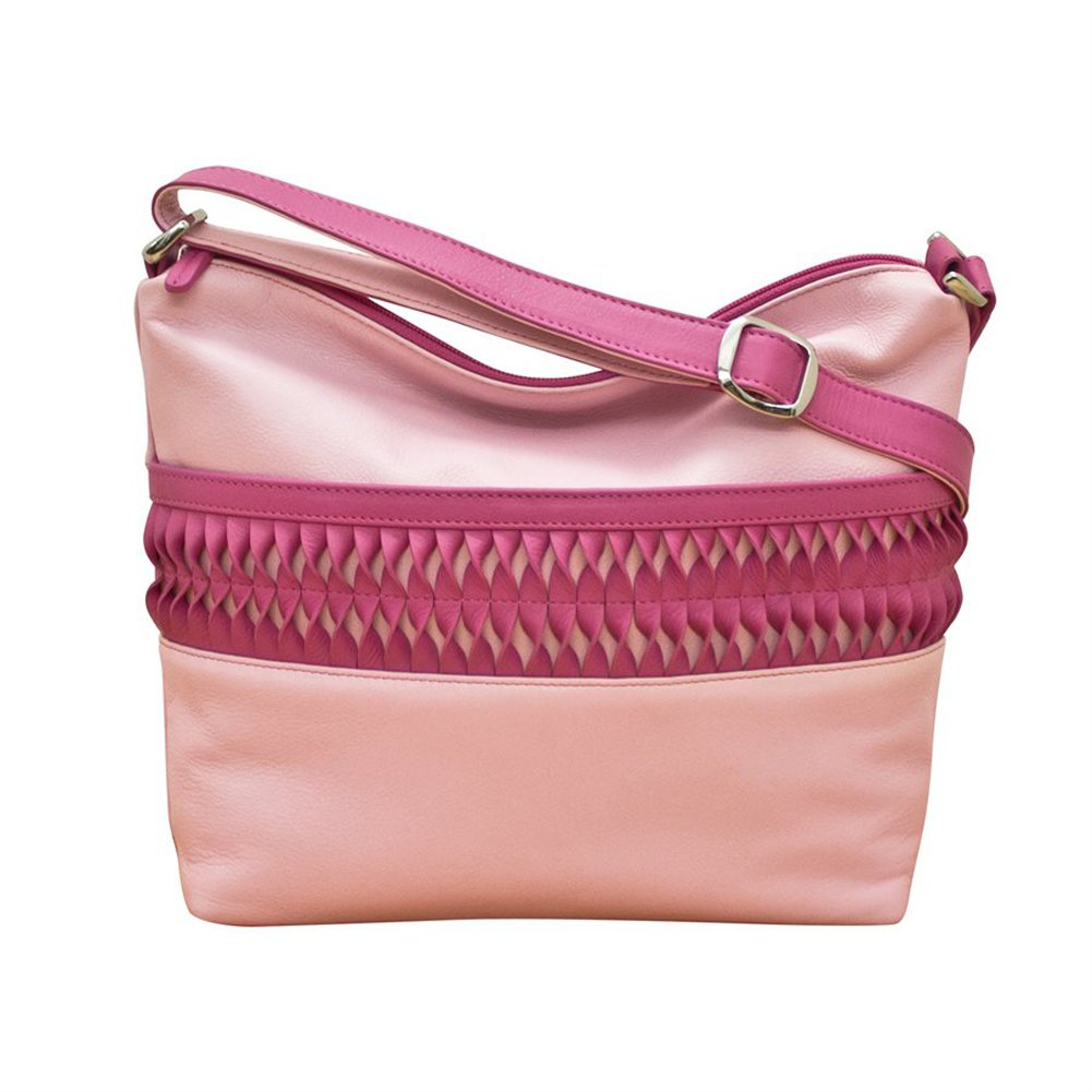 137dfba21cac Amazon.com  ili 6632 Leather Let s Twist Crossbody Hobo (Pastel Pink Hot  Pink)  Shoes