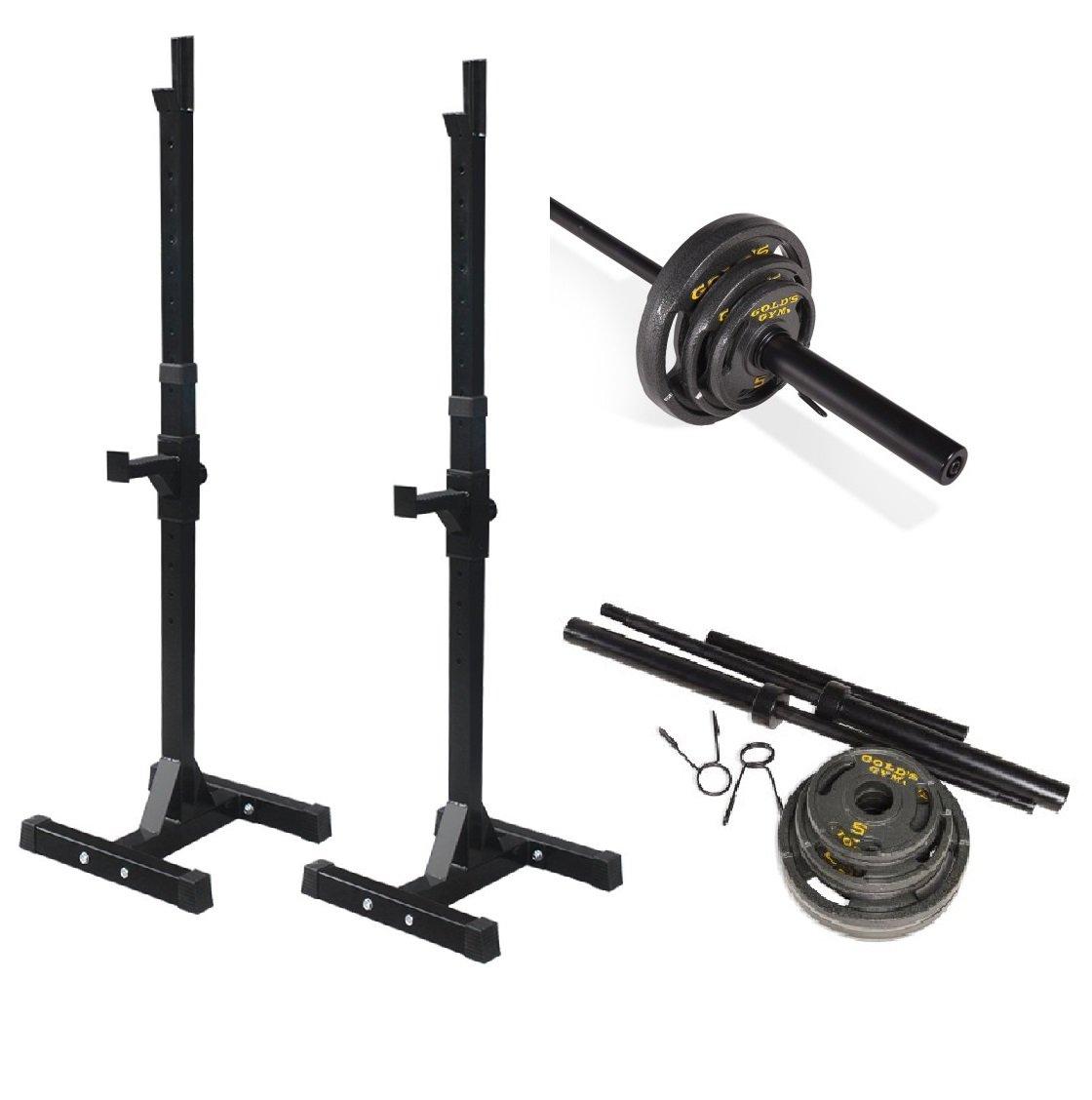 バンドルIncludes :調節可能なラックfor Freeベンチ、押しSquats、オリンピック重量セット、110ポンド B00VR0YHRY
