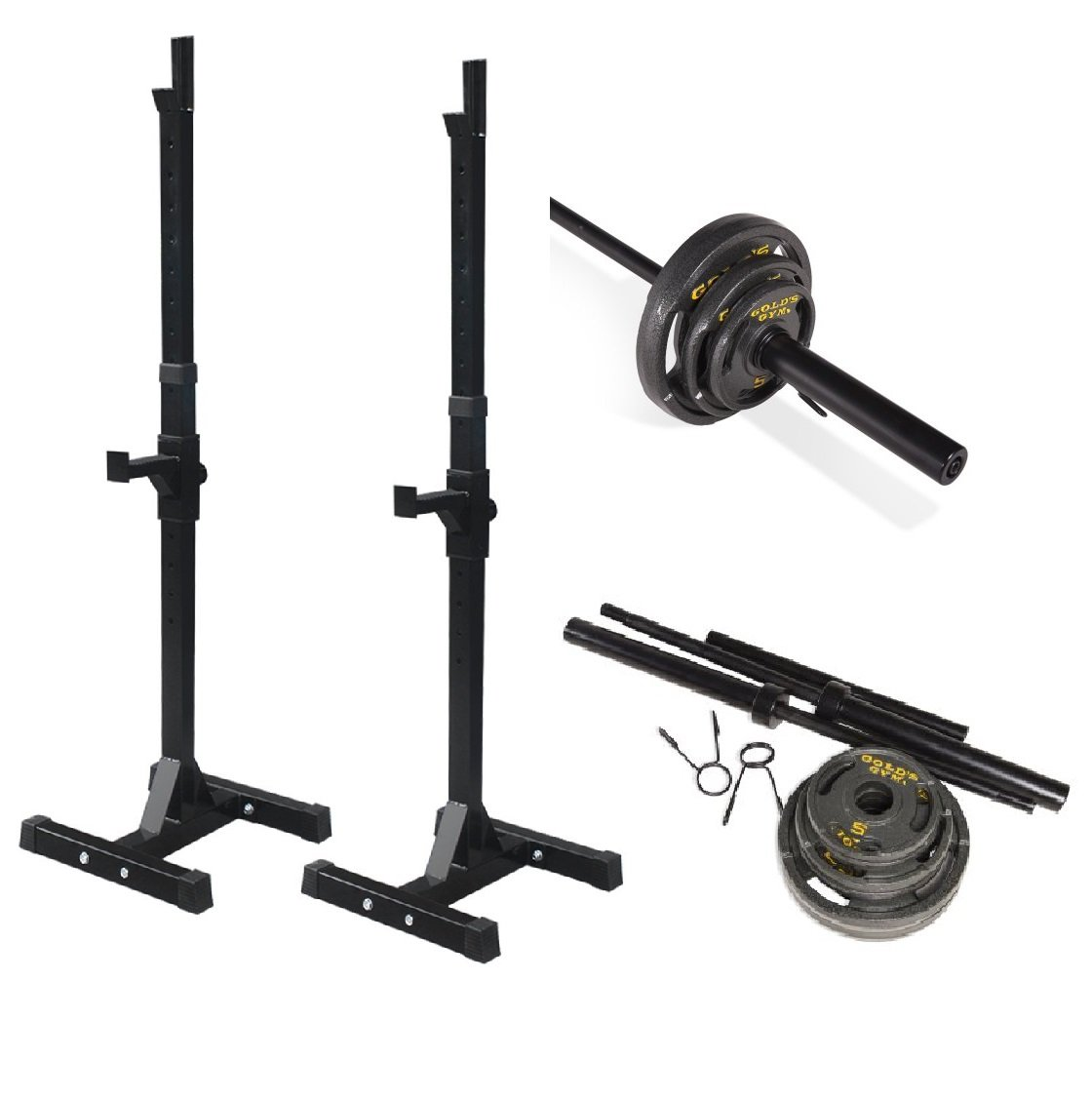 Bundle Includes: Adjustable Rack For Free Bench Press And Squats, Olympic Weight Set, 110 lbs