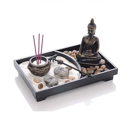 Tabletop zen garden meditation buddha statue sand rock rake tealight candle w incense holder