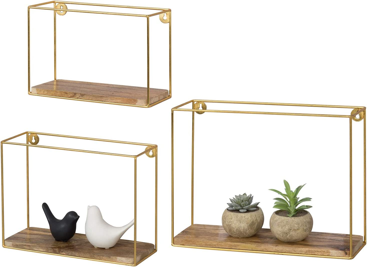 MyGift Mango Solid Wood & Brass-Plated Metal Wire Frame Wall Mounted Accent Shelves, Set of 3