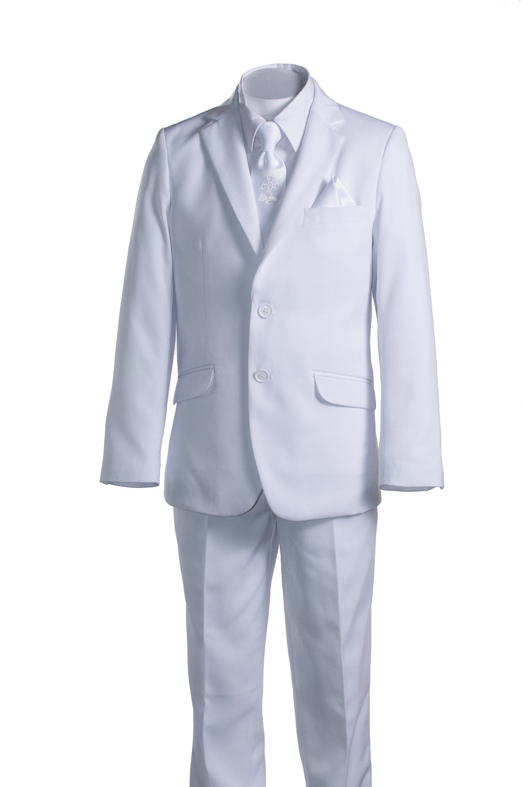 Boys Slim Fit White Suit, Communion Cross Tie, Suspenders & Handkerchief (5 Boys)