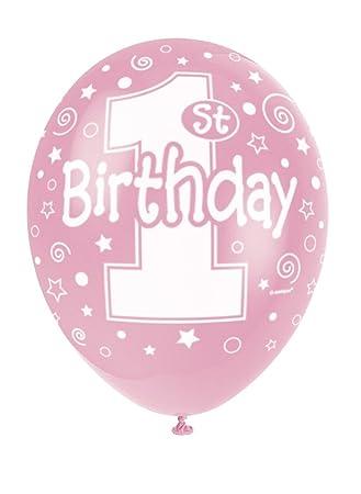 Unique Party- Paquete de 5 globos látex de cumpleaños