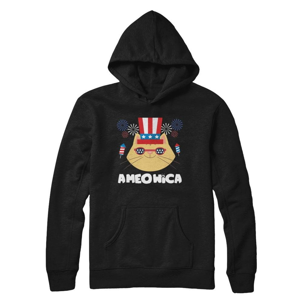 Pullover Hoodie Teely Shop Womens Ameowica Cat Fireworks 4th Of July Gildan