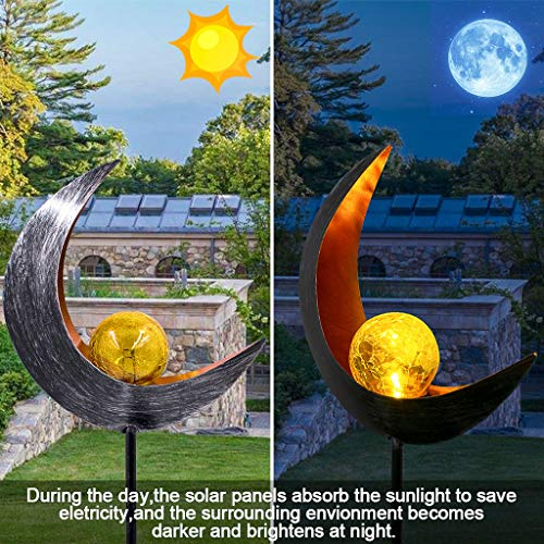 Garden Solar Lights,Outdoor Decorations Lawn Ornaments Moon Crackle Glass Globe Solar Stake Light IP65 Waterproof Solar Powered Stake Lights for Garden Patio Backyard Pathway (A, 31.5inch)