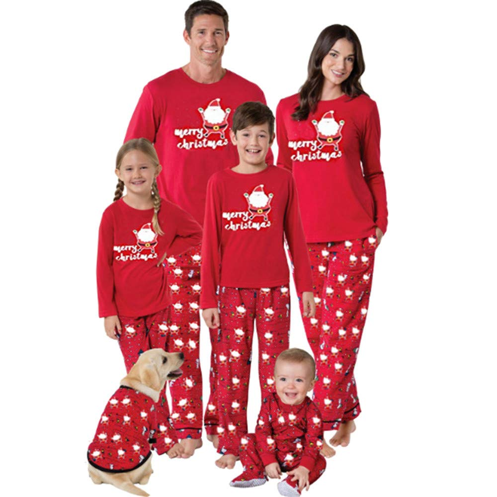 Felicy Family Pajamas Christmas Outfits Men Women Kids Santa Claus T Shirt Tops Pants Matching Sleepwear Set