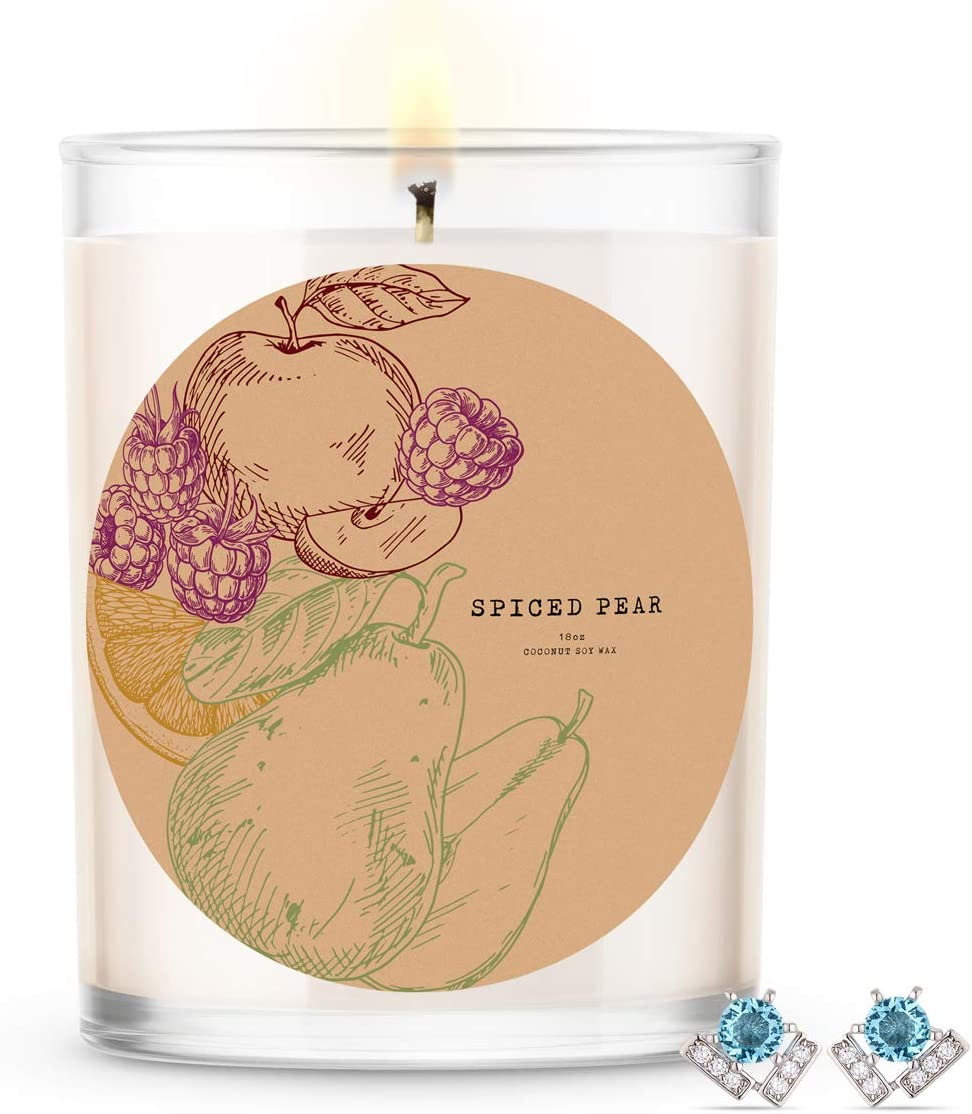 Kate Bissett Baubles Spiced Pear Scented Premium Candle and Jewelry with Surprise Earring Inside | 18 oz Large Candle | Fall Collection | Made in The USA | Parrafin Free Earring