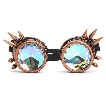 Alamor 3 Colores Festivales Rave Caleidoscopio Gafas Arco Iris Gafas Prisma Difracción Cristal - Negro