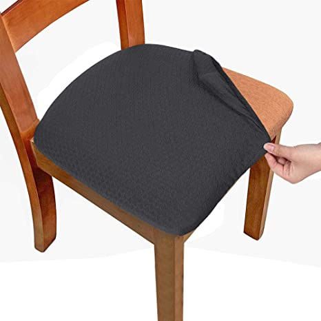 Amazon Com Melaluxe Stretch Dining Room Chair Seat Covers Removable Washable Jacquard Anti Dust Upholstered Kitchen Chair Seat Cushion Slipcovers Dark Grey Pack Of 4 Kitchen Dining