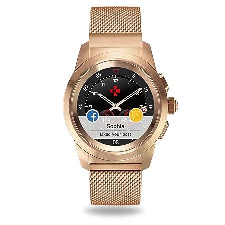 MyKronoz ZeTime Elite Reloj Inteligente híbrido 44mm con Agujas mecánicas sobre una Pantalla a Color táctil – Regular Cepillado Oro Rosa/Milanese