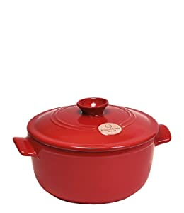 Emile Henry Flame Round Stewpot Dutch Oven, 5.5 Quart, Burgundy