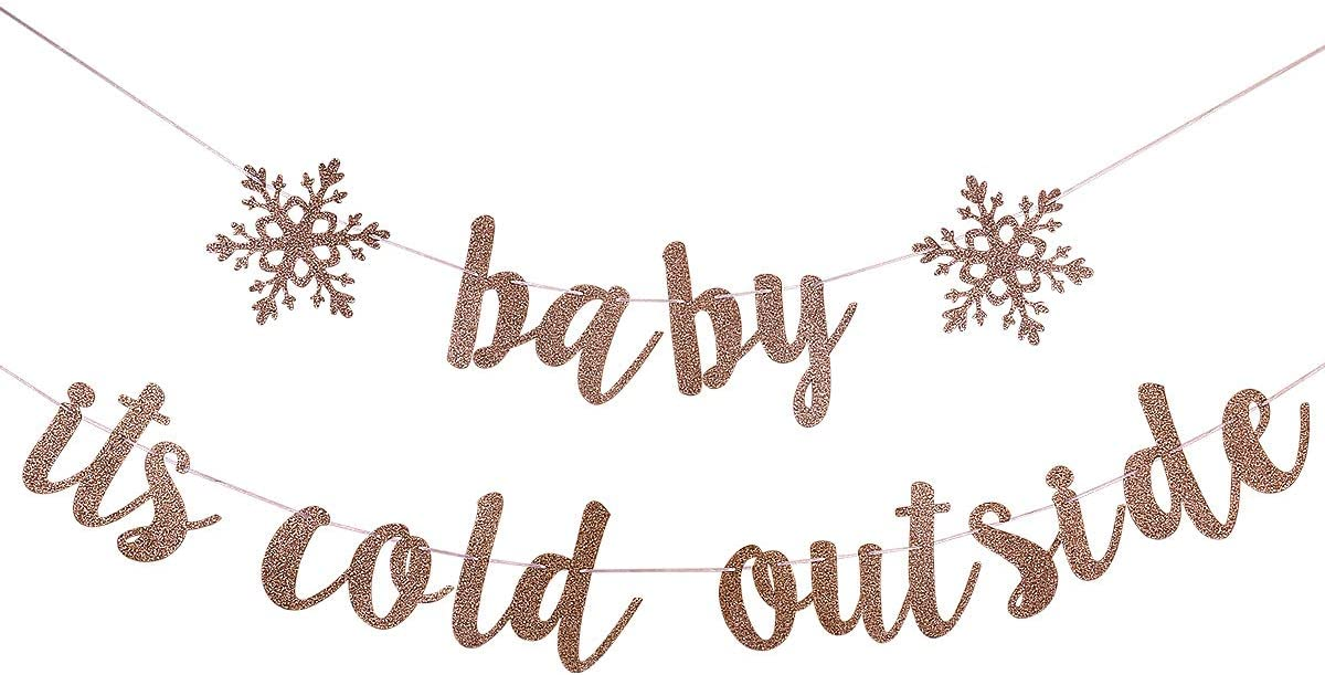 Rose Gold Glittery Baby It's Cold Outside Banner - Winter Baby Shower Decorations,Snowflake Baby Shower Decorations,Winter Wonderland Birthday Decorations,Christmas Party Decorations
