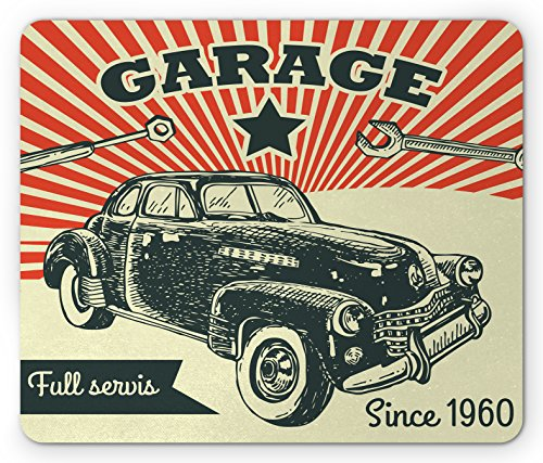 Cars Mouse Pad by Ambesonne, Retro Car and Garage Advertising Poster Style Picture with Grunge Effects 1960s Theme, Standard Size Rectangle Non-Slip Rubber Mousepad, Grey Beige
