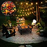 stone fire pit femor 32'' Fire Pit Table Outdoor, Multifunctional Patio Backyard Garden Fireplace Heater/BBQ/Ice Pit, Square Stove with Barbecue Grill Shelf and Waterproof Cover