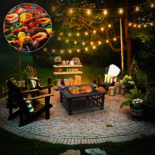 - femor 32'' Fire Pit Table Outdoor, Multifunctional Patio Backyard Garden Fireplace Heater/BBQ/Ice Pit, Square Stove with Barbecue Grill Shelf and Waterproof Cover