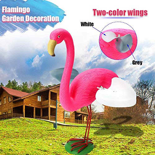 (Resin+Metal Outdoor Pink Flamingo With Wings Flamingo Garden Ornament Set Light Realistic Decoration As Yard Collectibles/Gifts)