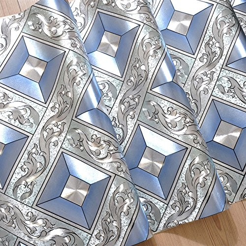 QIHANG Luxury Silver Foil Mosaic Square Lattice Background Flicker Wallpaper Gold Leaf Wallpaper Modern Roll/hotel Ceiling/decorative Wallpaper Roll Silver&Blue Color 1.73' W x 32.8' L=57 sq.ft by QIHANG (Image #1)
