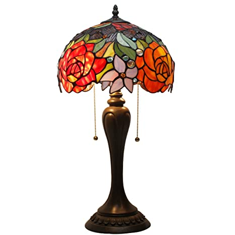 Tiffany Lamp Antique Style Stained Glass Table Lamps 24 Inch Tall