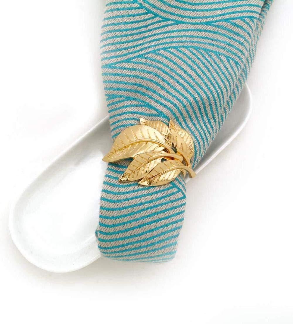 8pcs Anillos de servilleta de metal para la cena de la boda Fiesta Navidad Cocina Hoja de oro Servilleta Hebilla Servilleta Mesa