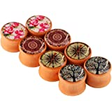 Longbeauty 4 Pairs Organic Wood Double Flared Tunnel Ear Plugs Expander Gauges IN 2 Style