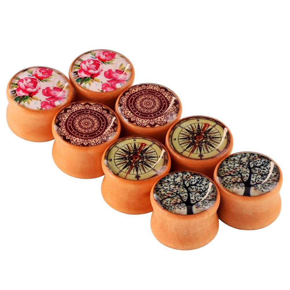 Longbeauty 4 Pair Organic Vintage Hand Made Wood Double Flared Saddle Tunnel Ear Plugs Expander Gauges 8MM