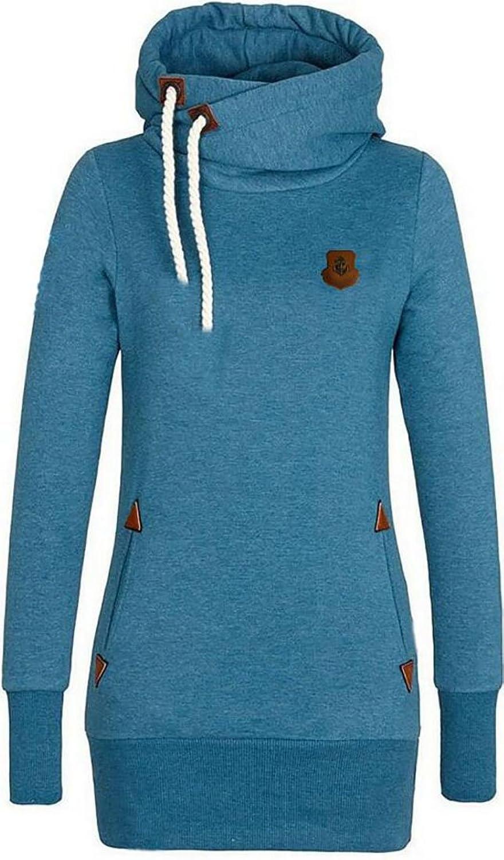 Oberora-Women Fashion Drawstring Solid Color Pocket Pullover Hooded Sweatshirt