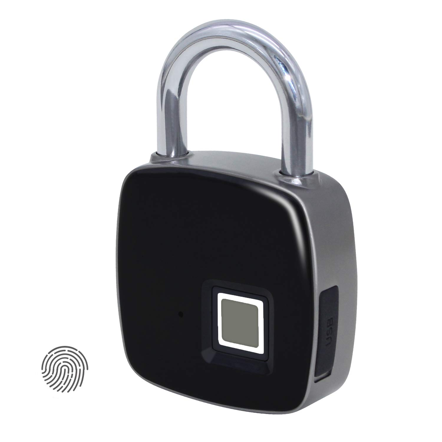 Smart Fingerprint Padlock Biometric, ANYTEK P3 Waterproof Lock with Finger Print Security Touch Keyless Lock USB charge & 2 Years Standby Time for Gym Locker, Suitcase, Cabinet Box - Black