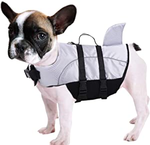 Queenmore Ripstop Dog Life Jacket Shark Life Vest for Dogs, Safety Lifesaver with High Buoyancy and Lift Handle for Small and Medium Breeds