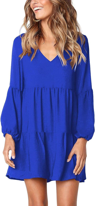 Arolina Women's Long Sleeve Tunic Dress V Neck Casual Loose Fall Flowy Swing Shift Dresses