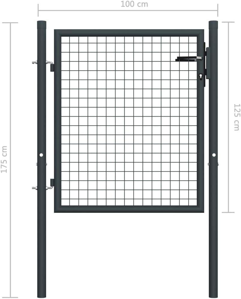 vidaXL Portail en Maille de Jardin Portillon de Jardin Porte de Jardin Portillon de Patio Porte de Terrasse Ext/érieur Acier Galvanis/é 100x175 cm Gris