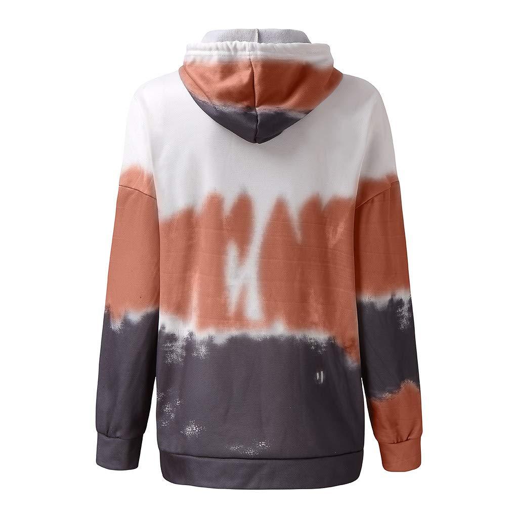 Auifor Women Hooded Sweatshirt Fashionable Nice Gradient Print Long Sleeve Pullover Jacket Blouse