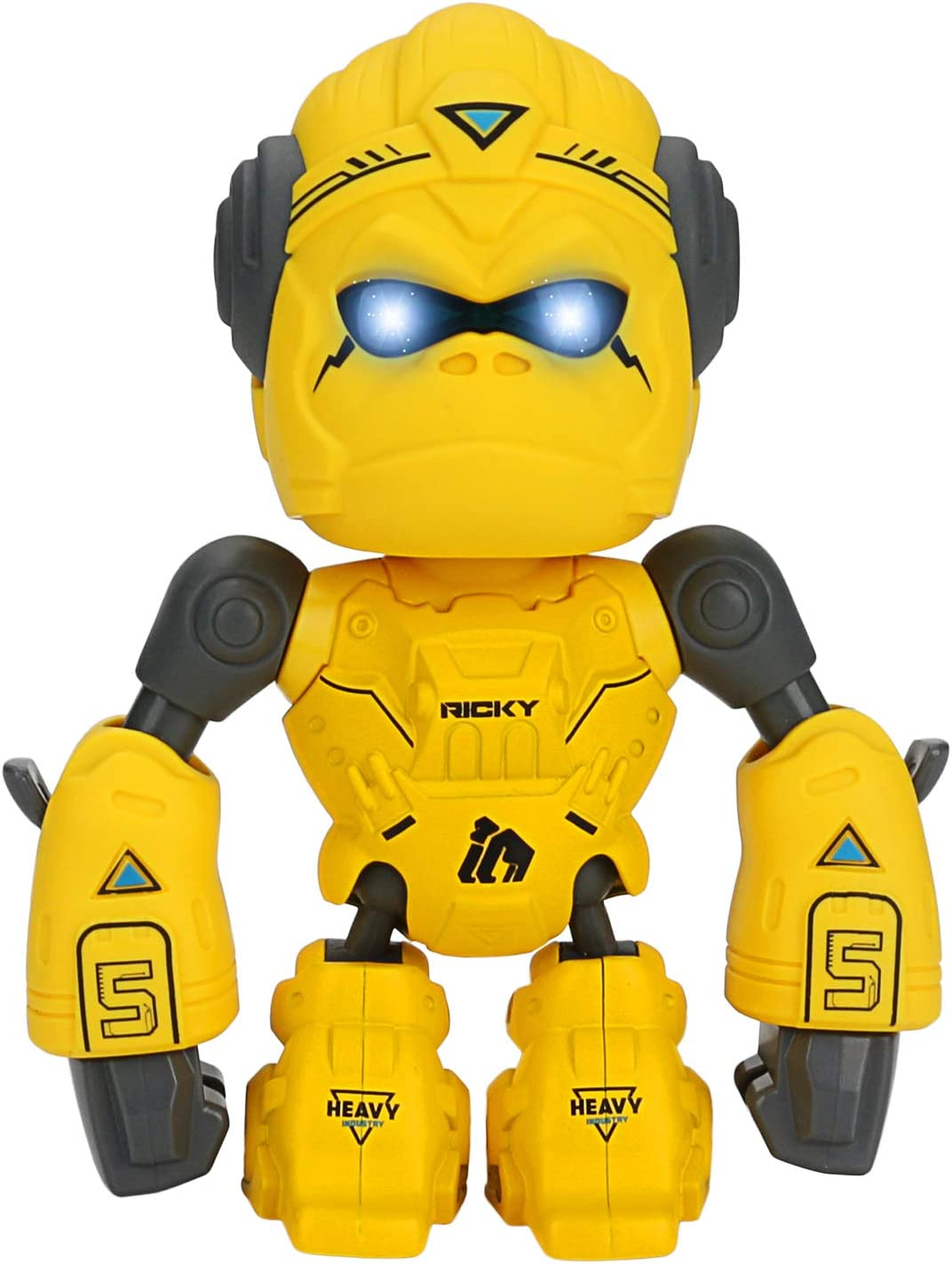 WIOR Gorilla Robot Toy Cool Sounds and Unique Cell Phone Stand Yellow Touch Sensitive King Kong Toys with Colorful Flashing LED Eyes Ideal Birthday for Kids 3-Year-Old /& Up
